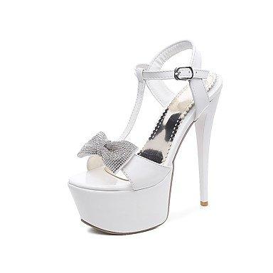 LFNLYX Donna Sandali Primavera Estate Autunno Comfort cinturino alla caviglia in pelle di brevetto party di nozze & abito da sera Stiletto Heel BuckleBlack strass White
