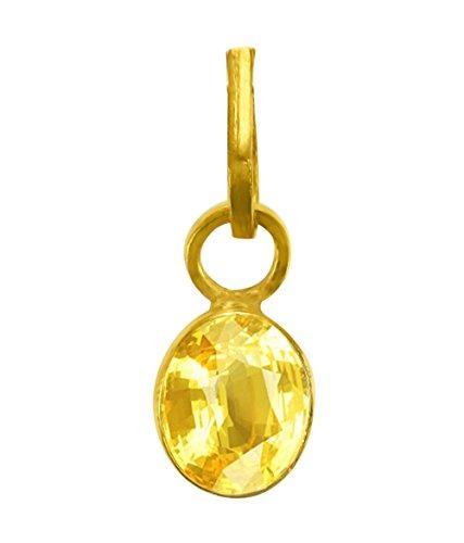Cultured YELLOW SAPPHIRE / PUKHRAJ Gemstone Pendant (PANCH DHAATU) OF 5.25 RATTI