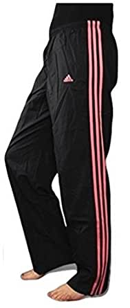 "Adidas Womens 3 Stripe Tracksuit Bottom Wind Pants (M | UK 12-14 | Waist 29-31"", Black / Soft Pink)"