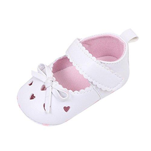 FNKDOR Babyschuhe Mädchen Neugeborene Weiche Rutschsicheren Baby Schuhe (0-6 Monate, Weiß) (Baby Weiße Schuhe)