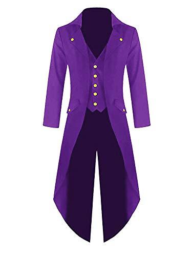 (Outgobuy Herren Steampunk Vintage Frack Jacke Gothic viktorianischen Frock Mantel Uniform Kostüm (XXXXL, Lila))