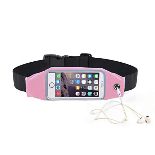 Sport Gürteltasche, Tragbarer Bauchtasche Verstellbarer Gürtel mit Kopfhörerloch, Transparente Smartphone Tasche Kann Die Bildschirmhumpen Berühren, Hüfttasche mit Reflektierendem Sicherem Rahmen