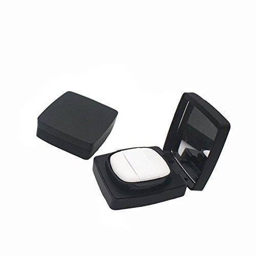 Dumb vide rechargeable à induction magnétique carré noir maquillage houppette Poudre Récipient portable Maquillage Houppette poudre boîte avec miroir et éponge pour base BB Crème CC humide Coussin d'Air Compact