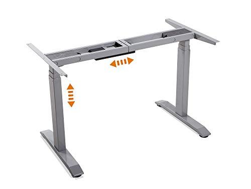 moebel-eins elektrisch höhenverstellbares Schreibtisch-Gestell Office One Tischgestell Memory-Steuerung für alle gängigen Tischplatten mit Softstart/-Stop, grau -
