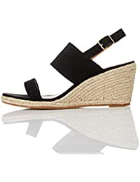 find. Wedge Leather Espadrille Damen Peeptoe Sandalen