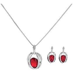 LBZDR Collier Collier de Boucles d'oreilles de Pierres précieuses fixé Autour de Bijoux en Deux Parties de Diamant Creux, A