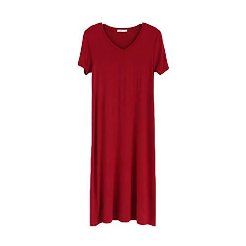 Modal Schlafen Kurz (Cdrox Frauen-Schlaf-Kleid Elastic Loose Fit Rundhals Kurzarm Mädchen Nachtwäsche)