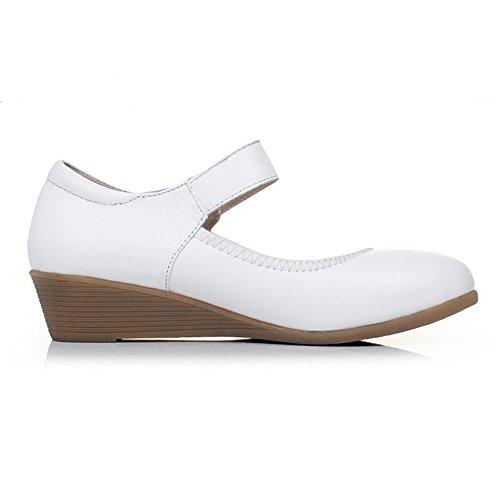 KALENDS femmes Cuir véritable Cobbies Taille plus Chaussures de travail décontracté Chaussures Blanc