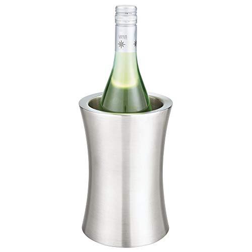 mDesign moderner Flaschenkühler - stylischer Weinkühler ohne Zufügen von EIS - einzigartiger Flaschenhalter mit zeitlosem Design - silberfarben