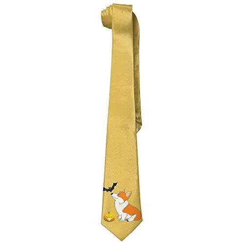 (Kawaii Halloween Corgi Men's Tie Long Necktie Skinny Neckwear Silk)