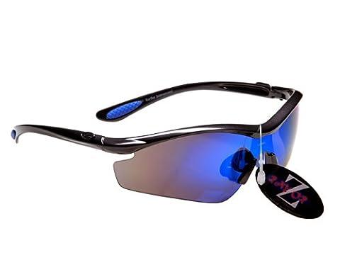 Rayzor Professional Lightweight GunMetal Grey UV400 Sports Wrap Running Sunglasses, With a 1 Piece Blue Iridium Revo Anti-Glare
