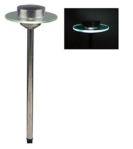 LED Solarleuchte Solarlampe UFO Solar Lampe Edelstahl mit Glasscheibe Solarbeleuchtung Gartenbeleuchtung Lampe Licht