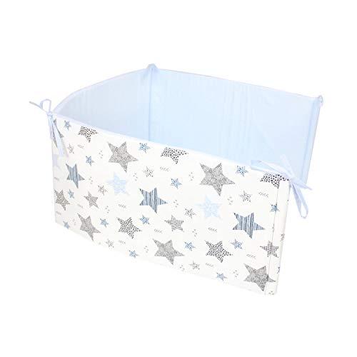 TupTam Babybett Kopfumrandung Nestchen Kurz Gemustert, Farbe: Sterne Blau/Schwarz, Größe: 180x30cm (für Babybett 120x60)