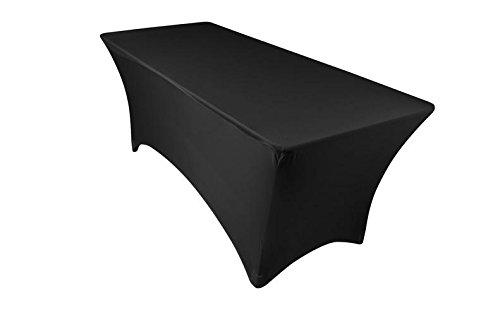 Event Linens Dehnbare Tischdecke, 182,9 cm-aus Elastan, Enge Passform für rechteckige Tische, für DJs, Messen, schwarz -