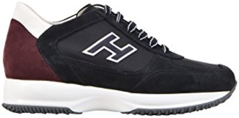 Hogan Herren HXM00N0Q102I9L413J Blau/Bordeauxrot Leder Sneakers