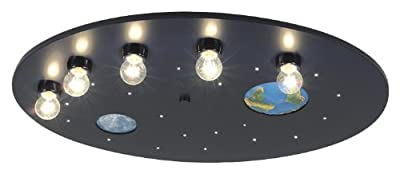 Niermann-Standby 655 - Deckenleuchte Weltall blau inklusive Leuchtmittel: 5 x E14 max. 40 Watt und 20 x 1,1 Watt Lichtpunkte, ca. 54 x 74 x 12 cm von Niermann Standby - Lampenhans.de