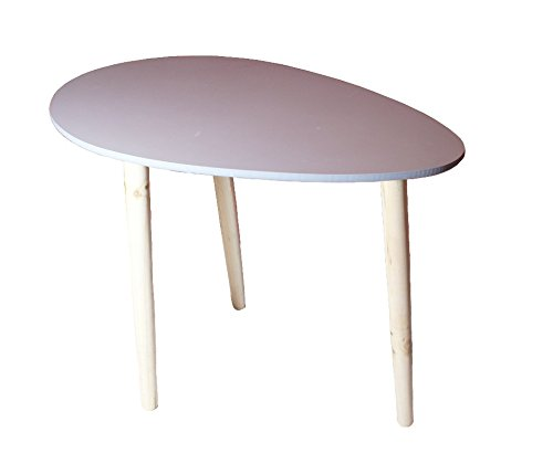 bibelot & co Table Basse Ovale en Bois - Table à café - Table de Chevet/Nuit - 3 Pieds et Plateau Ovale Couleur Grise - Design Simple Style scandinave