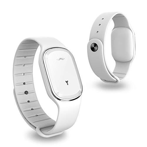 ellent Bracelet Intelligentes Armband-Repellent Wiederaufladbares wasserdichtes Bio-Sound-Repellent-Moskito für drinnen und draußen,White ()