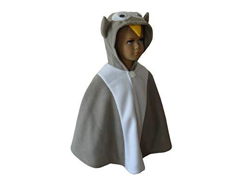 fasching karneval halloween kostüm cape für kleinkinder eule grau