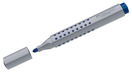 Faber-Castell Grip 153504 - Marqueur à pointe biseautée Marker Grip Flipchart à pointe ronde bleu