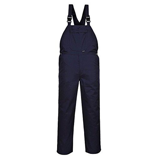 Portwest Burnley Arbeit Bib & Brace Hose Latzhose hinten aufgesetzte Tasche Workwear Gr. XXXXL, Blau - Navy - 4 XL EU / 4 XL UK (Reißverschlusstasche Hinten)
