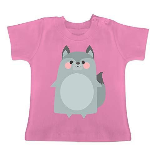 Kostüm Baby Wolf - Karneval und Fasching Baby - Fasching Kostüm Wolf - 1-3 Monate - Pink - BZ02 - Baby T-Shirt Kurzarm