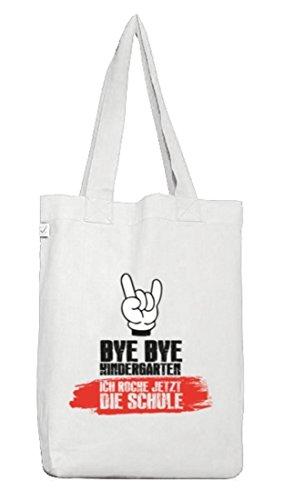 Einschulungsgeschenk Erstklässler Stoffbeutel Earth Positive mit Bye Bye Kindergarten Motiv White