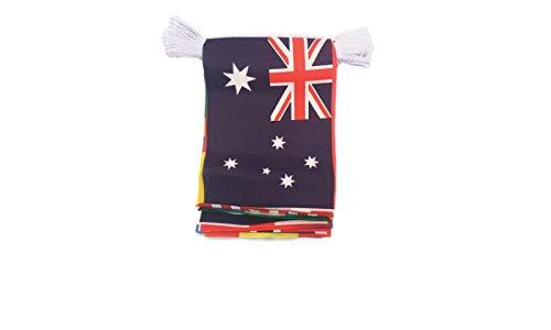 Flagmania® Cricket World Cup 2019 Wimpelkette, 6 m Länge, 20 Flaggen (10 Teams, zweimal) + 59 mm Button Badge