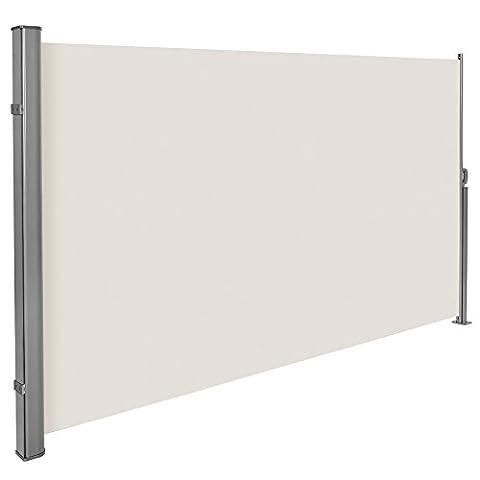 TecTake Auvent store latéral brise-vue abri soleil aluminium rétractable 180x300cm beige Logement et soutien post entièrement en aluminium