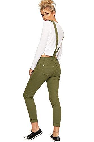 WEARALL Femmes Toile Salopette Combinaison Dames Plein Longueur Pantalon Poche Bouton Nouveau - 34-42 Vert
