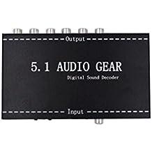 Luzan 5.1Audio Gear apoyo decodificador de sonido digital Dolby AC-3Digital Dolby Pro Logic DTS PCM en 5.1Salida de Audio analógico
