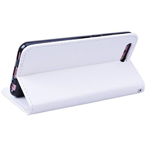 GrandEver iPhone X Hülle Einhorn Muster Lederhülle Schutzhülle Scratch Ledercase Ledertasche Umschlag Stil Flip Cover Handyhülle Wallet Case mit Weiche Silikon Schale Standfunktion Kartenfach Kreditka Weiß
