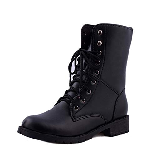 Yesmile Zapatos para Mujer❤️Zapatos Los Hombres de Las Mujeres Atan para Arriba el Motorista Plano Botas Militares del Combate del ejército Negro