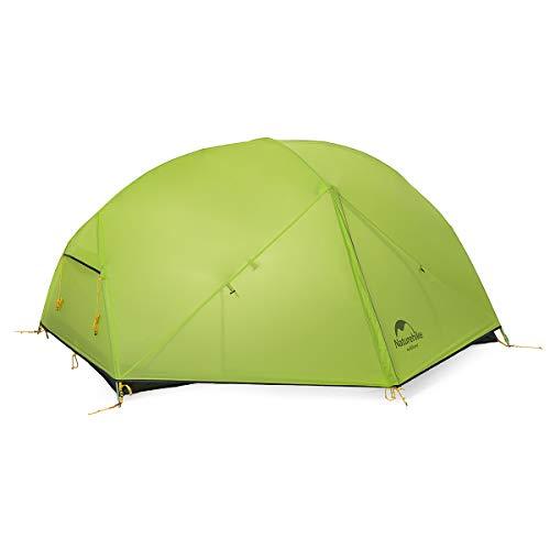 Naturehike Mongar Ultra léger Tente 2 Personnes 20d Coque en Silicone Double Couche Tente de Camping randonnée (Vert Clair)