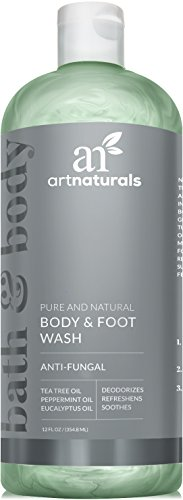 ArtNaturals Essential Bath and Body Wash - Tea Tree, Peppermint and Eucalyptus Oil - Natural Eczema Soap for Antifungal Feet, Helps Kill Nail Fungus, Athletes Foot, Ringworm, Jock Itch and Odors - 354 ml.