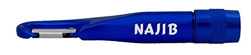 Personalisierte Taschenlampe mit Karabiner mit Aufschrift Najib (Vorname/Zuname/Spitzname)