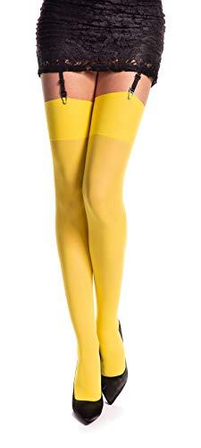 Medias amarilas para liguero para mujer