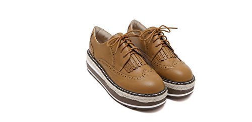 XieShiJie Femme bottes / nouvelles croûte épaisse / chaussures / Brock / style / gland / chaussures / muffins / chaussures basses / chaussures Oxford / bottes / britanniques Brown