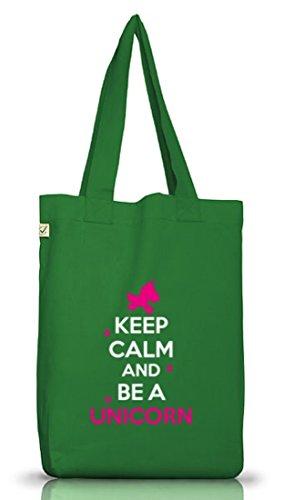 Keep Calm And Be A Unicorn, Einhorn Jutebeutel Stoff Tasche Earth Positive (ONE SIZE) Moss Green