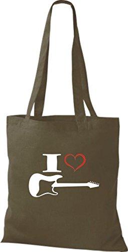 Shirtstown Stoffbeutel Musik I love E-Gitarre Olive