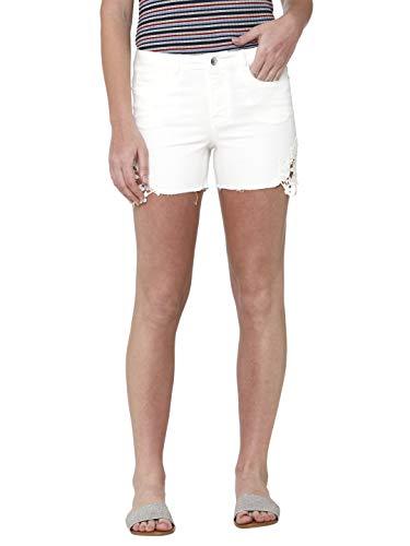VERO MODA Damen Vmseven Mr Slim Crochet Lace Shorts, Weiß (Snow White Snow White), W(Herstellergröße: L) -
