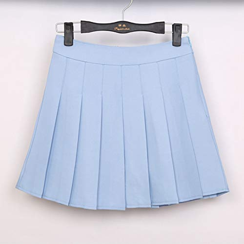HEHEAB Rock,Sky Blue Spring Ball Mit Hoher Taille Faltenröcke Harajuku Röcke Solid A-Line Sailor Rock Plus Size Japanische Schuluniform, Xs -