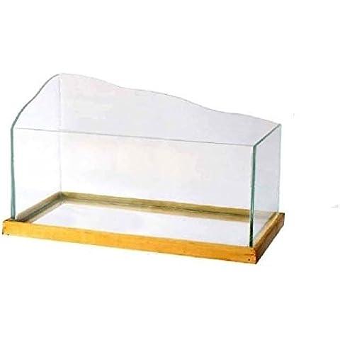 Tartarughiera con cornice in legno - Teca in vetro, disponibile in varie misure (Piccola) - Tartaruga Di Terra