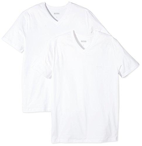 BOSS Herren SS VN 2P BM 10111875 02 T-Shirts, Weiß (White 100), Small (Herstellergröße: S) (2erPack) -