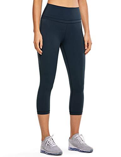 CRZ YOGA Damen Yoga Capri Leggings Sport Hose mit Hoher Taille-Nackte Empfindung -48cm Echte Marine 19'' - R418 XL(44)