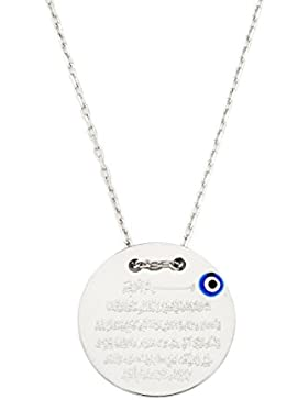 925 Silber Gravurplatte Halskette - Ayetel Kursi Gebet für Muslimen Allah Islam - mit türkischem Auge Nazar Boncuk...