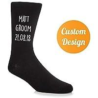 Customised Groom Socks Groomsmen Groomsman Gifts For Him Wedding Clothing Ideas Marriage Personalised Name & Date (Black Socks/5 Text Colours)