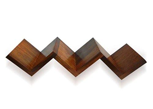Stylla londra zig zag forma sheesham mensola supporto da parete a libro, in legno, fatto a mano, legno, marrone, 11x 68x 11cm