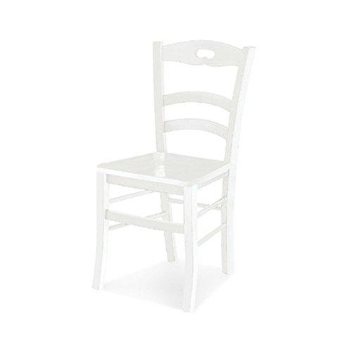 Paire de chaises, Style Classique, en Bois Massif avec Finition Blanc Mat - Dim. 40 x 40 x 75