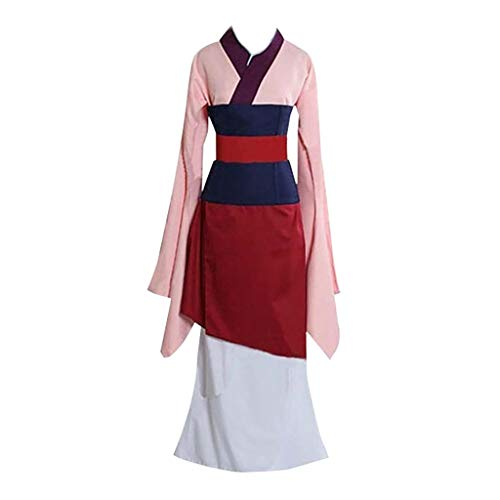 Markthym Damen Kleid Sommer Knielang Sommer lang luftig Strand Kleider Frauen Prinzessin Kleid blau Kleid Film Kleid Cosplay Kostüm Kimono Frau Mulan Anime Performance Uniform Set (Sexy Patriotische Kostüm)